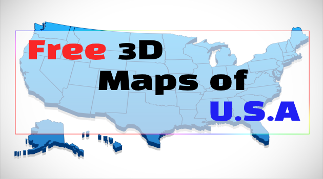 3d map of U.S.A