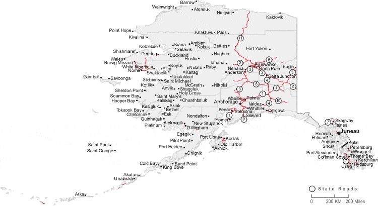 Alaska Labeled Map
