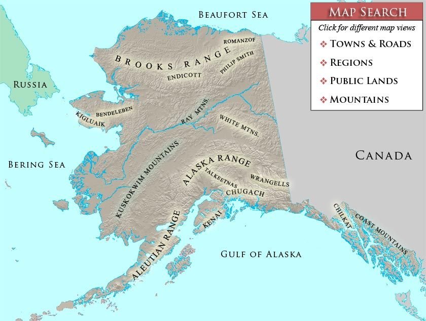 Alaska Mountain Map