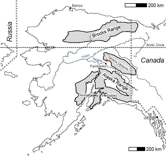 Alaska black and white mountain range map