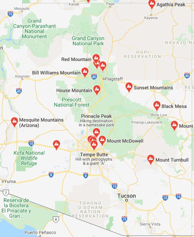 Arizona Mountain map