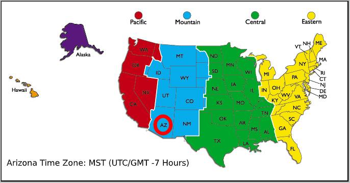 Arizona Time Zone Maps