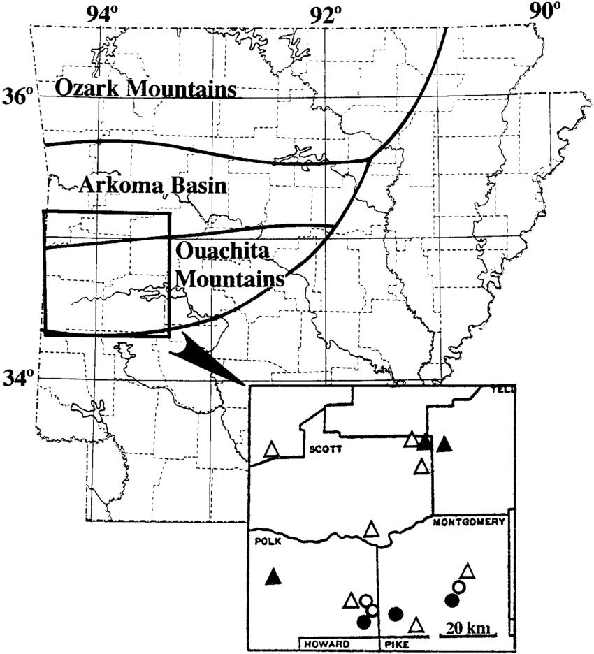 Arkansas Black and White Mountain Map