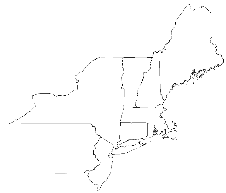Blank Map of Northeast United States