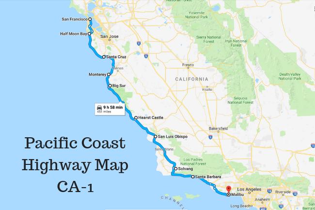 California Pacific Coast Highway Map