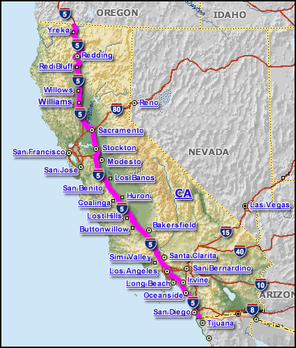Highway 5 California Map