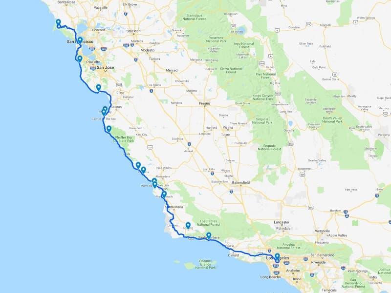 Hwy 1 California Map