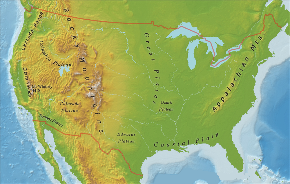 Labeled U.S mountain Map