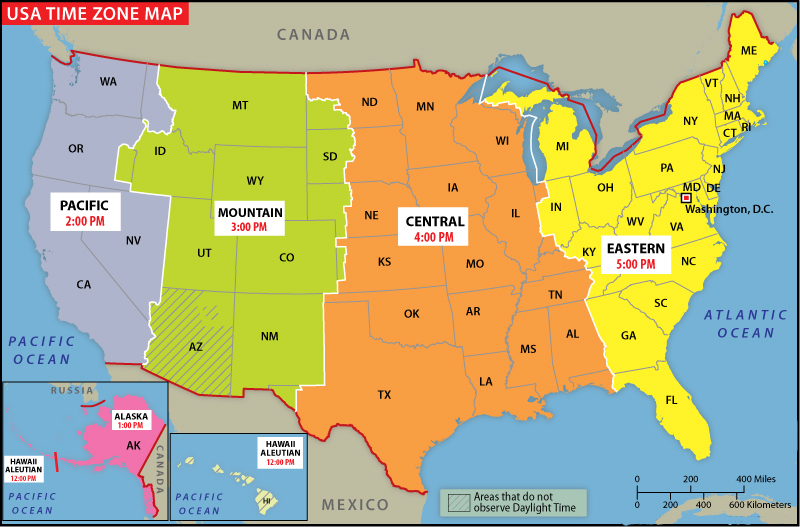 Labeled U.S Time Zone Map