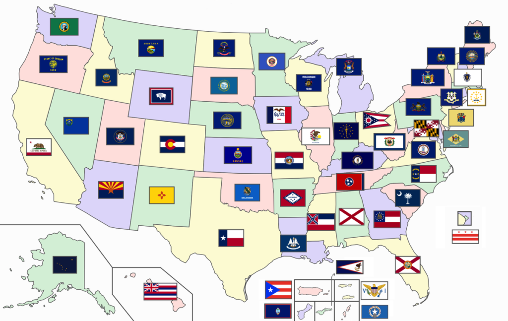 Labeled U.S Flag Map
