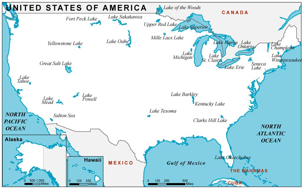 Labeled U.S lake Map