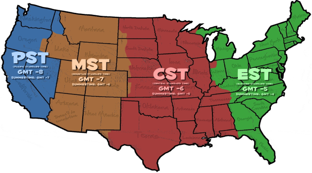 Free U S Time Zone Maps With Cities And States