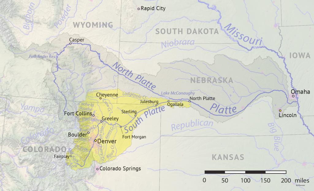 Platte River on U.S Map