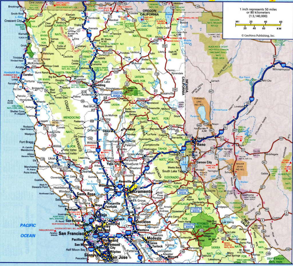 Road Map of Northern California