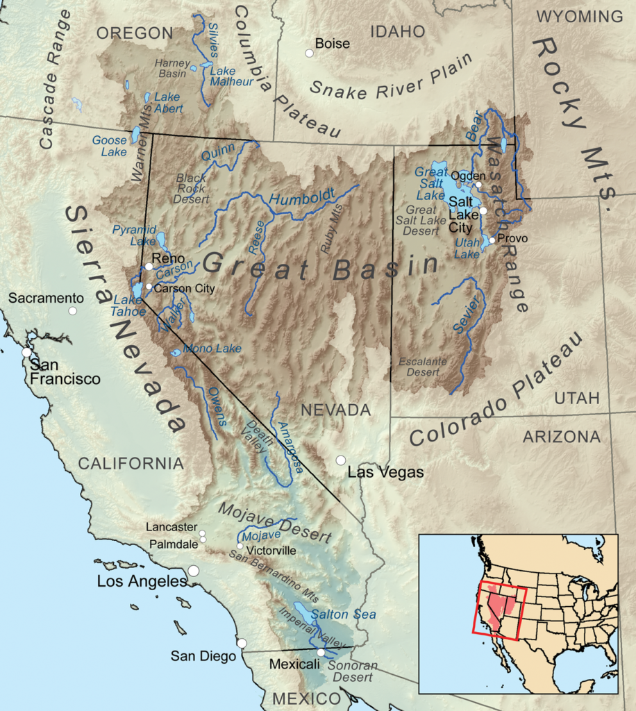 Sierra Mountain Range on U.S Map