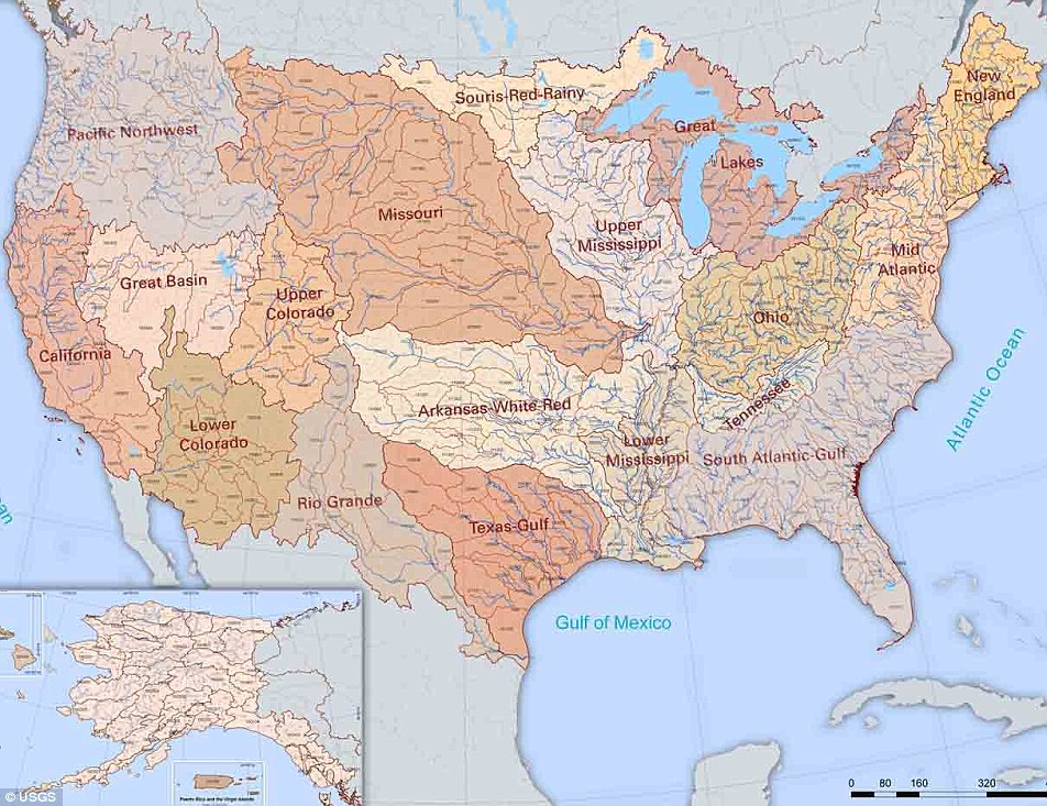 U.S River Basin Map