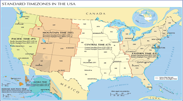US State and Cities Time Zone Map