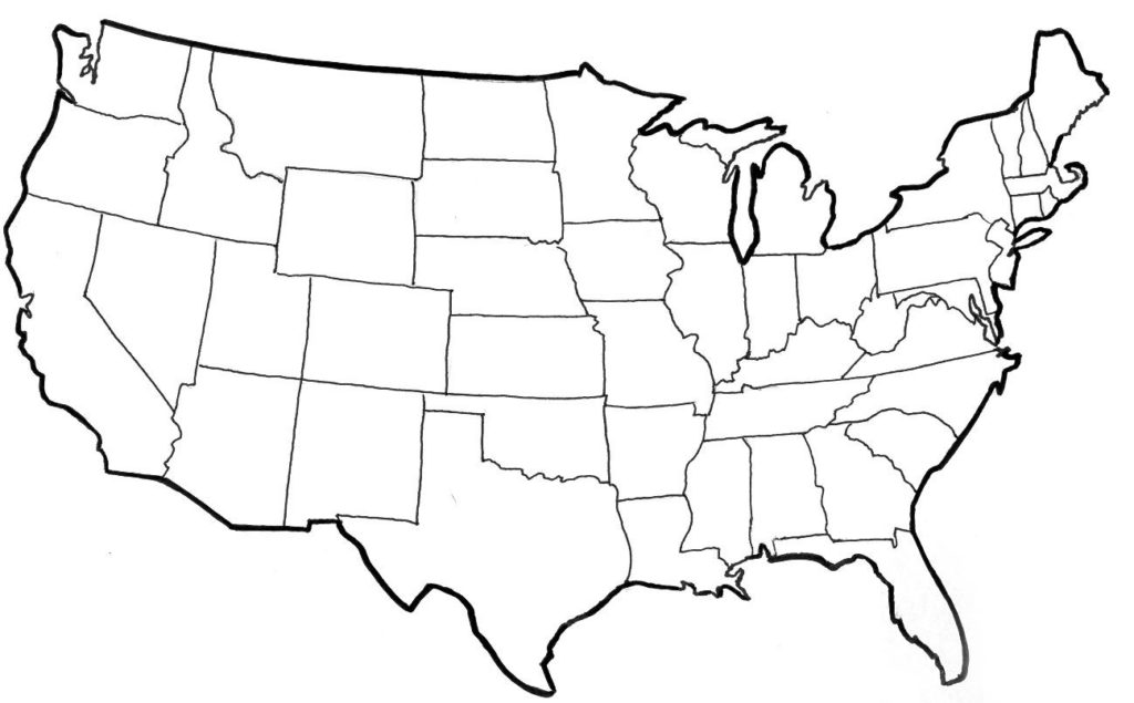 free printable blank map of the united states