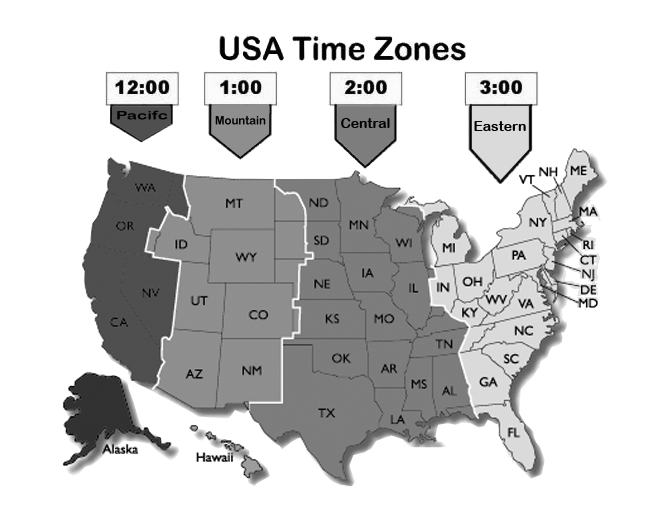 black and white time zones map of usa