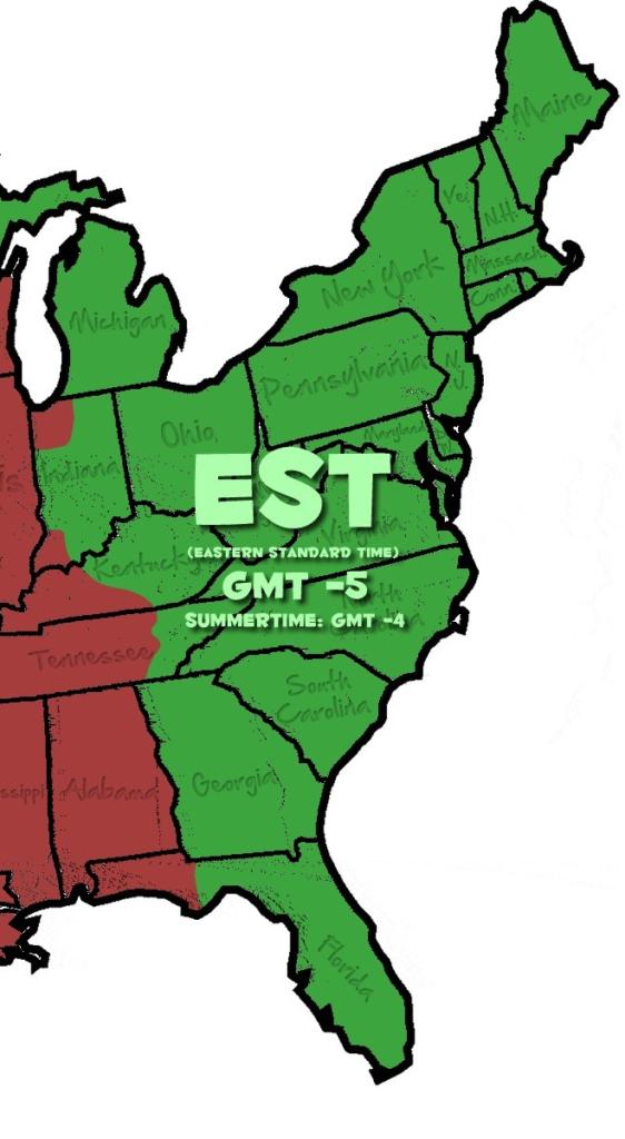 eastern u.s standard time zone map