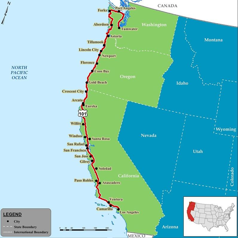 highway 101 california map