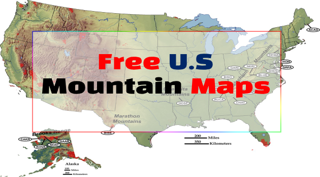 Rocky mountains on U.S Maps