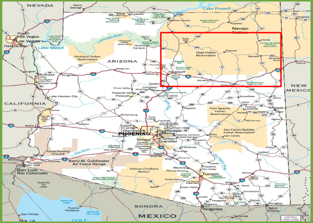 Road Map of Northern Arizona
