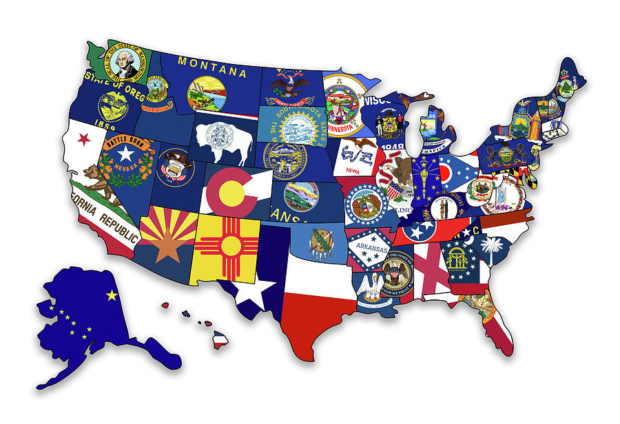 state flag map of the united states