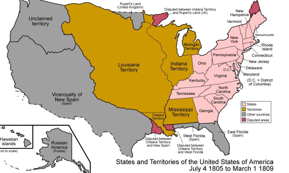 U.S Territory Map of 1805