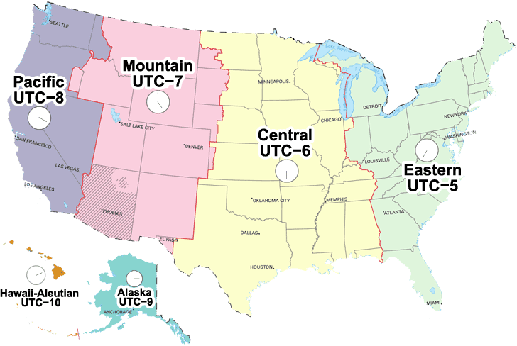 Time Zone Map of USA with Clocks