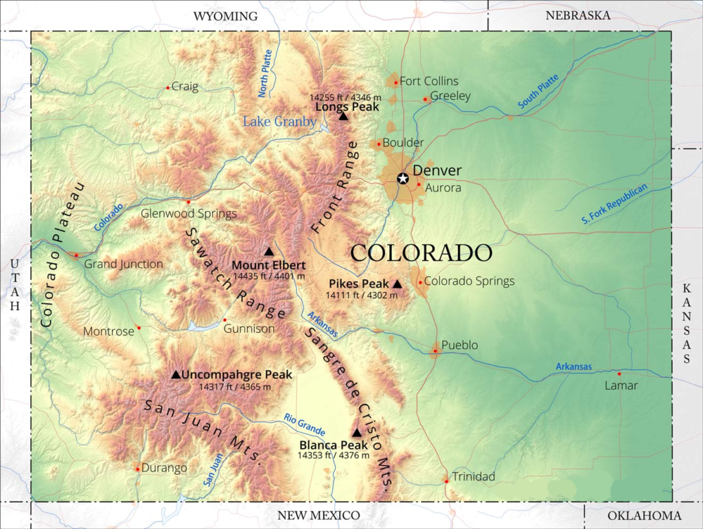 Colorado Mountain Map