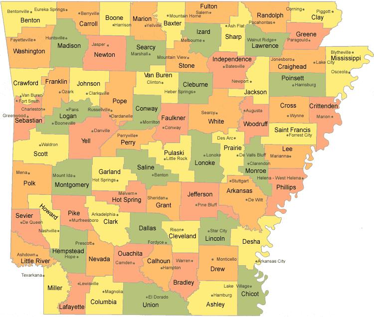 arkansas county map