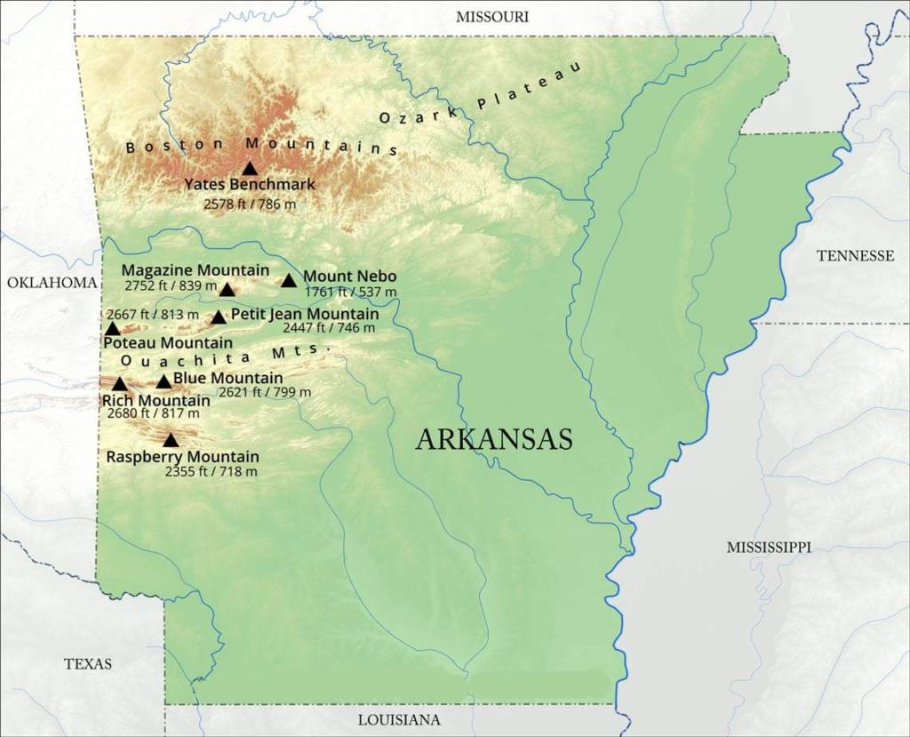 arkansas mountain map