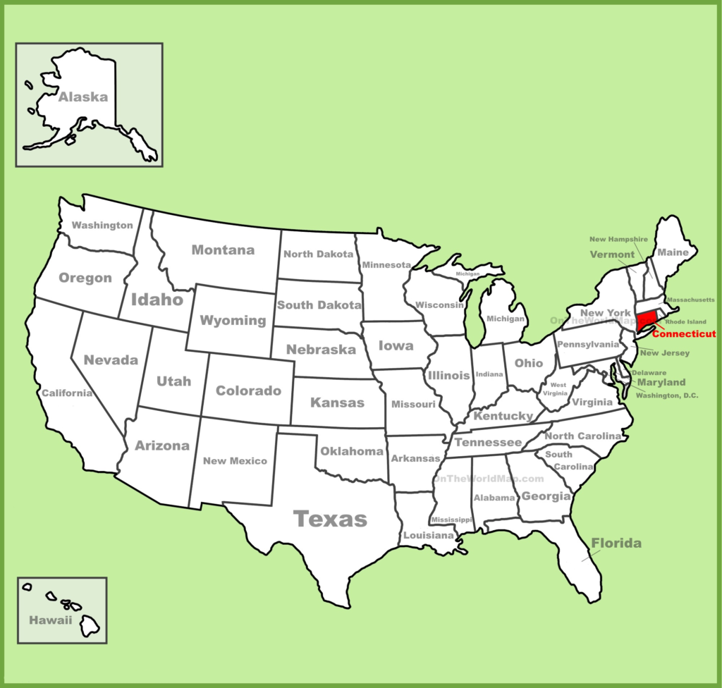 connecticut on us map