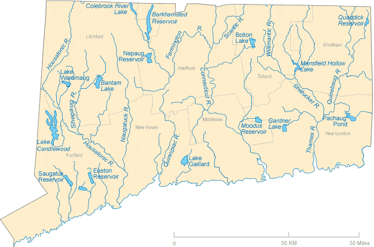 connecticut rivers and lakes map