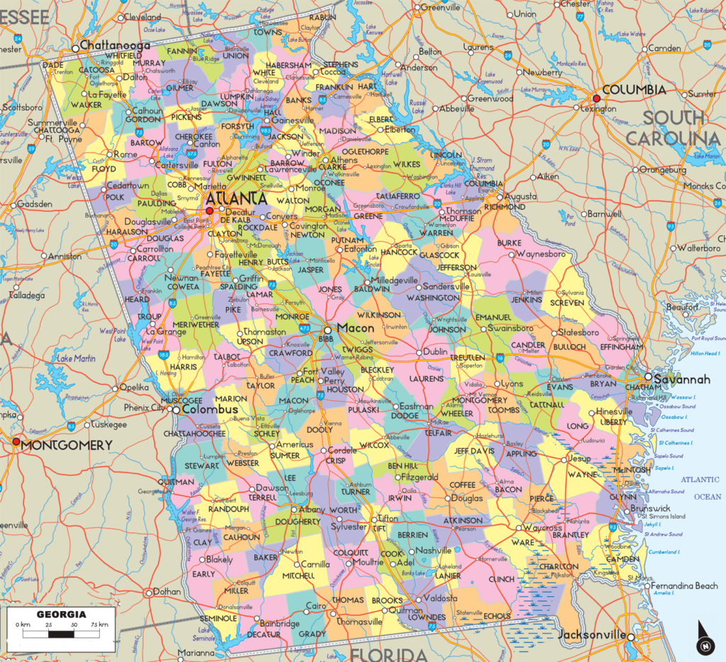 georgia county map with roads