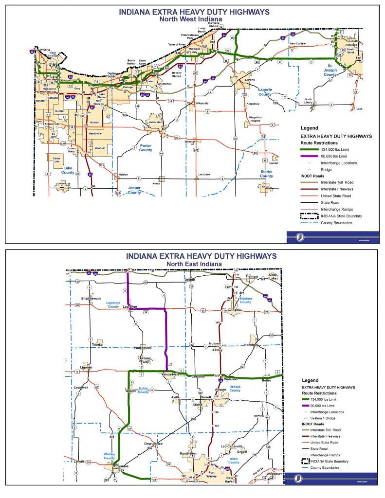 Indiana Extra Heavy Duty Route Map