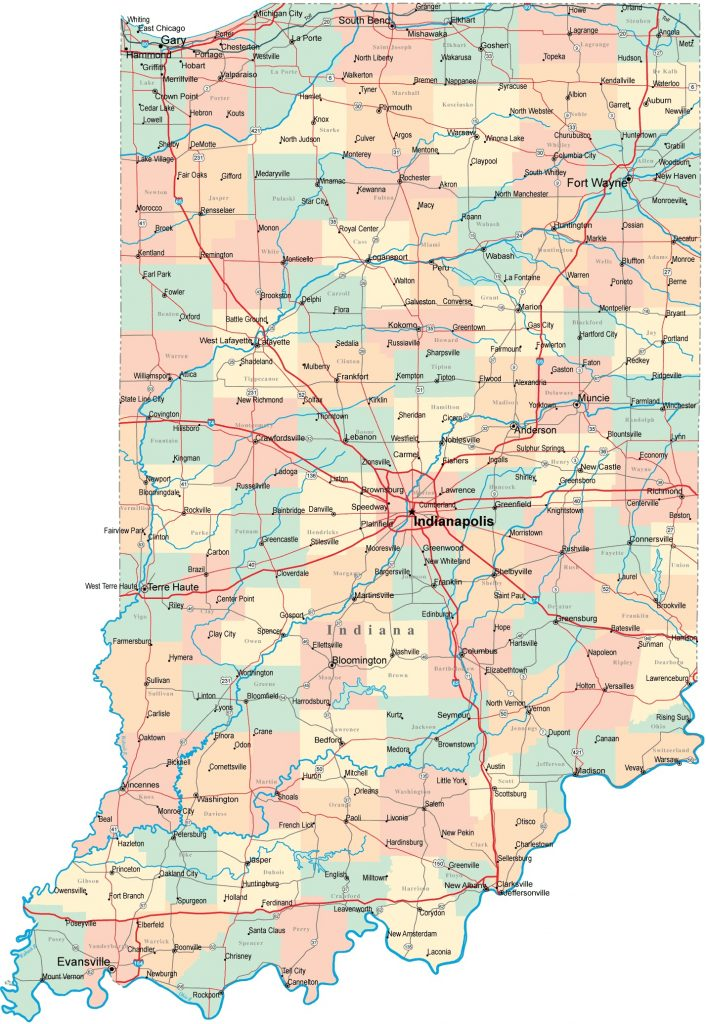 Indiana Map with Roads Highways Cities Counties