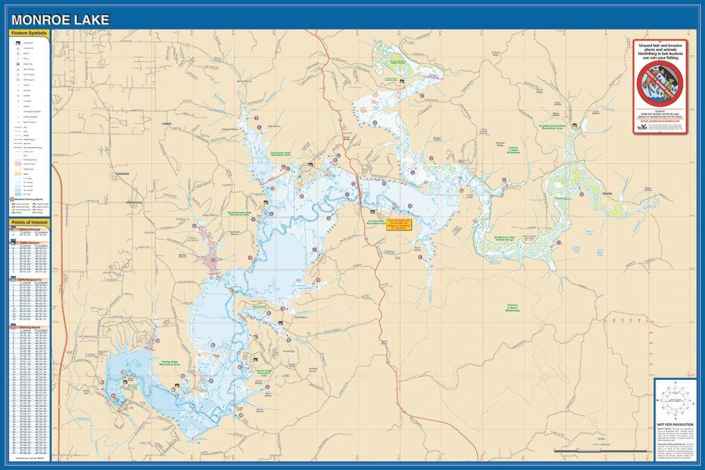 Monroe Lake Fishing Map